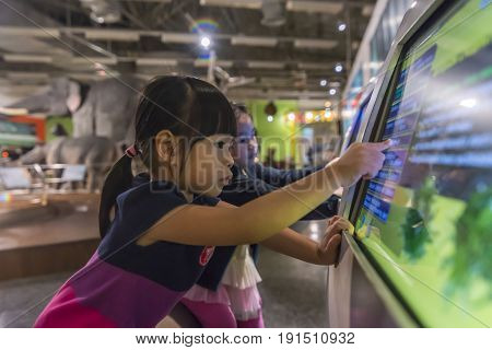 Pathum Thani Thailand - June 11 2017 Little girl at National Science Museum