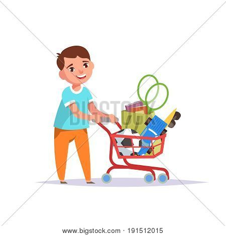 Happy boy standing with a shopping cart full of toys on isolated white background. Vector illustration in flat style