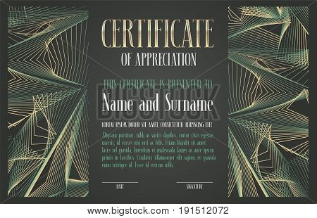 Certificate of appreciation achievement vector illustration. Template design element with abstract geometric pattern and body copy for diploma award