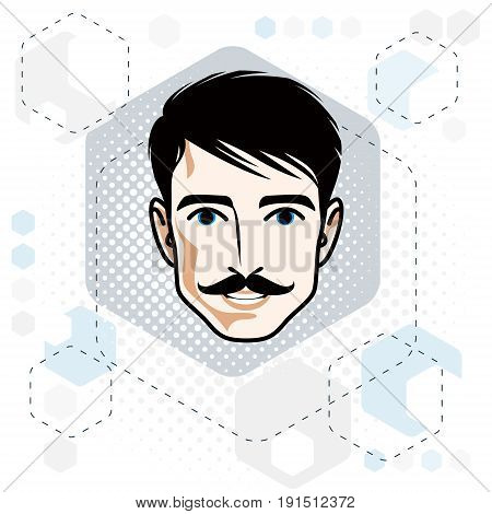 Caucasian man face expressing positive emotions vector human head illustration. Attractive male with whiskers and stylish haircut hipster