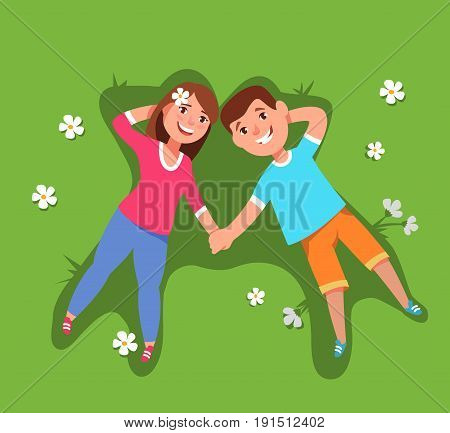 Vector illustration couple young woman and man lying down lie in the grass top view. Summer holiday and leisure countryside