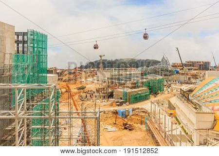 GENTING HIGHLANDS, MALAYSIA - APRIL 16, 2017: The construction view of FOX Theme Park from First World Hotel at Genting Highland Malaysia