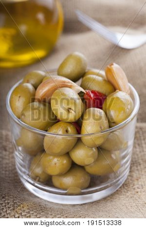 Bowl Of Homemade Olives On A Glass, Typical Spanish Tapa