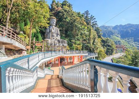 Genting Highlands, Malaysia - April 16, 2017: Large stone Buddha statue at Chin Swee Caves Temple in Genting Highlands Pahang Malaysia