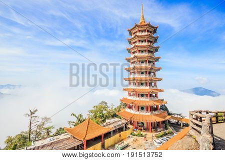 Pagoda at Chin Swee Temple Genting Highland is a famous tourist attraction near Kuala Lumpur. During this photo shoot thick fog and the temperature is too cold