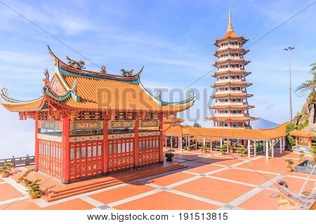 GENTING HIGHLAND, MALAYSIA - APRIL 16, 2017: Pagoda at Chin Swee Temple Genting Highlands on April 16, 2017. Genting Highland is a famous tourist attraction near Kuala Lumpur.