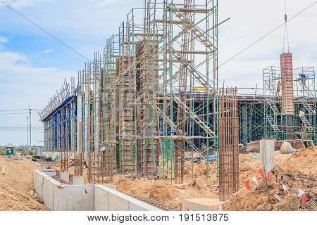 Scaffolding used as the temporary structure to support platform form work and structure at the construction site. Also used it as a walking platform for workers.