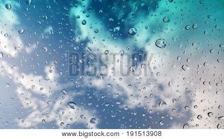rain water drop on windshield in rainy day