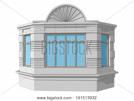 bay window isolated on a white background