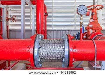 Flex hoses stainless for industrial fire fighter system red piping and valve water pump