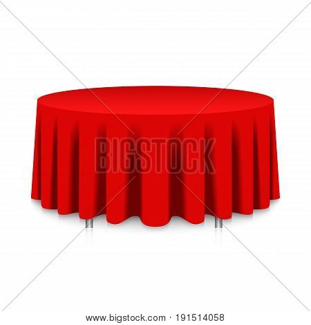 Isolated blank round table with red tablecloth for celebration isolated