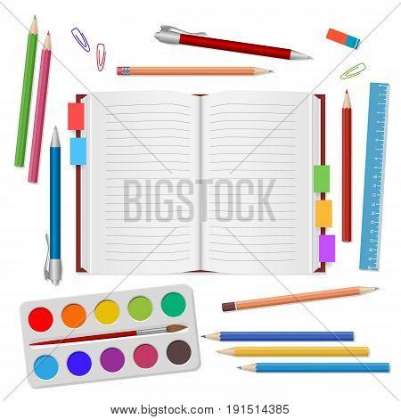 School Background With School Supplies