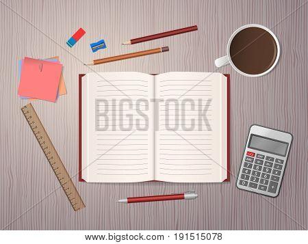 School Notebook With School Supplies