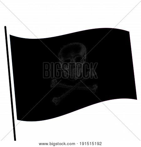 Isolated black color flag with grey image of skull, crossbones vector illustration.