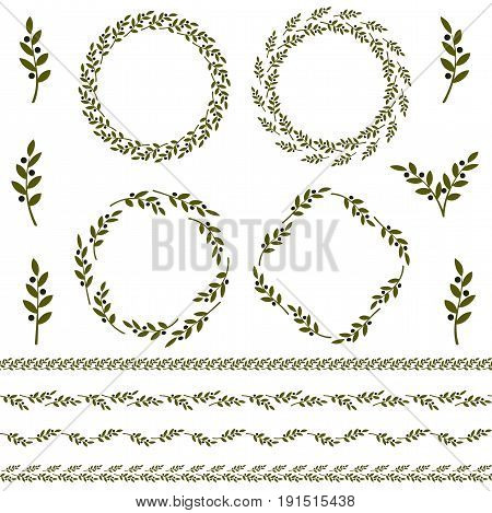 Set of green vector olive branch logo and ornament. Olives oil sign. Greek religious sign. Mythological icon.Healthy products label. Organic cosmetics. Eco food and natural element vector illustration.
