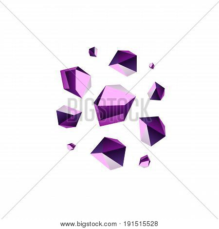 Amethyst stone crystal quartz mineral. Violet variety of quartz crystal cluster vector illustration.