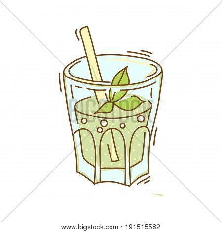 Background with glassware jar with fruit infused water. Detox for health. Vector illustration.