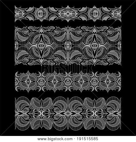 Set of abstract seamless embroidery lace borders with hatch at black background
