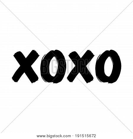 Xoxo hand drawn ettering vector art illustration. Perfect design element for banner flyer postcard or poster