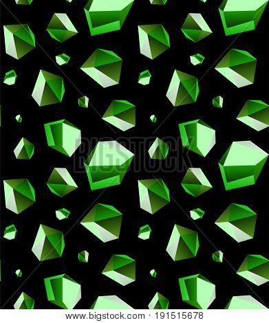 Seamless background of emerald stone crystal quartz mineral. Violet variety of quartz crystal cluster vector illustration and pattern