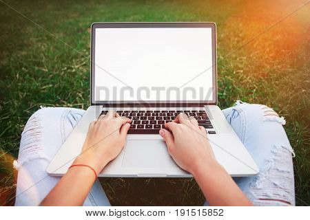 Young woman using and typing laptop computer in summer grass. Freelancer working in outdoor park.