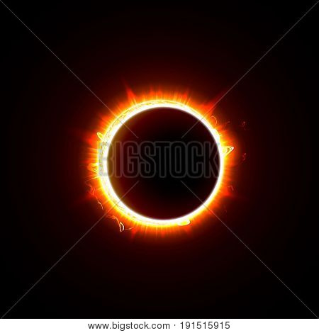 Solar eclipse on a black background vector illustration. The Sun in the Shadow of the Moon picture