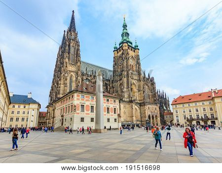 PRAGUE, CZECH REPUBLIC - APRIL 14, 2016: Cathedral of St. Vitus Prague Castle. This is an excellent example of Gothic architecture and is the biggest and most important church in the Czech country