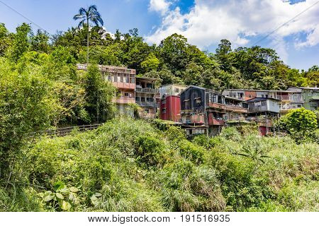Landscape of Pingxi District Small Village on northern of Taipei Taiwan. Popular destination for one day trip by train to visit local market and launch sky lantern.