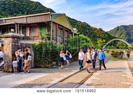 HOUTONG, TAIWAN - APRIL 30, 2017: Old shopping street near Houtong station Houtong Taiwan on April 30, 2017 Houtong is famous cat village in Taiwan.