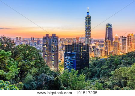 Taipei Taiwan city skyline at sunset from view of Taipei City make a hike to the top of Elephant Mountain