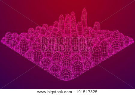 Low poly wireframe smooth mesh array like skyscraper city. Connected lines. Connection Box Structure. Digital Data Visualization Concept. Vector Illustration.