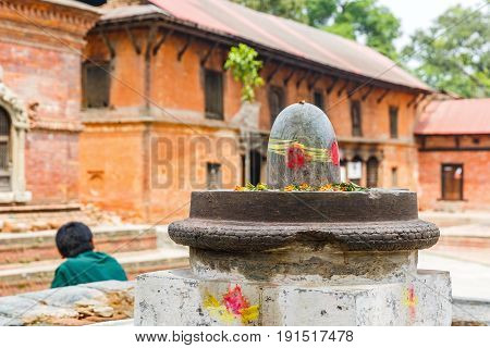 Photo of stone shiva lingam in Pashupatinath temple