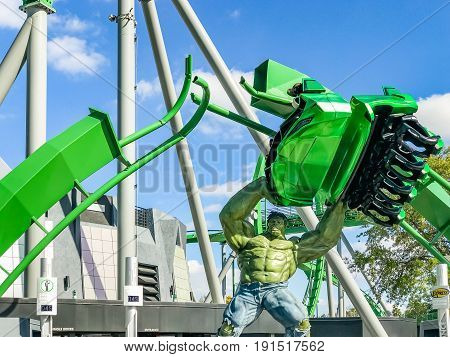ORLANDO, USA - JANUARY 05, 2017: Incredible hulk coaster in Adventure Island of Universal Studios Orlando. Universal Studios Orlando is a theme park resort in Orlando Florida.
