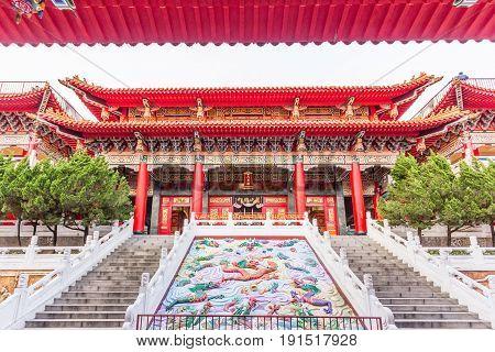 TAICHUNG, TAIWAN - MAY 01, 2017: Wenwu temple beautiful temple in front of sun moon lake Taichung Taiwan.