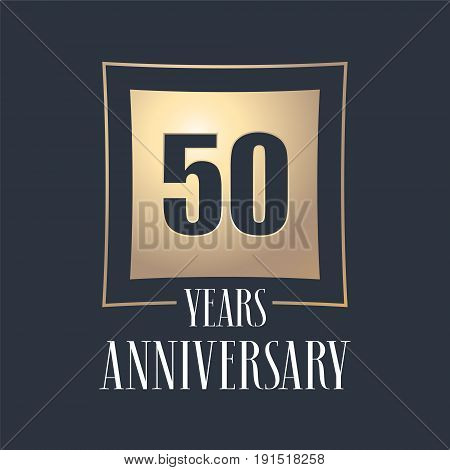 50 years anniversary celebration vector icon logo. Template design element with golden number for 50th anniversary greeting card