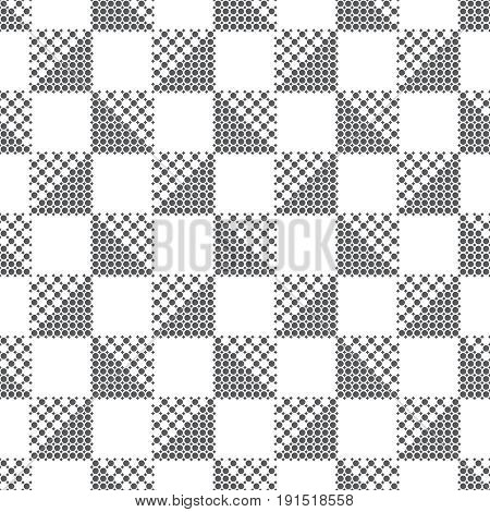 Vector seamless pattern. Infinitely repeating geometrical texture consisting of small rhombuses dots dotted triangles. Checkered ornament