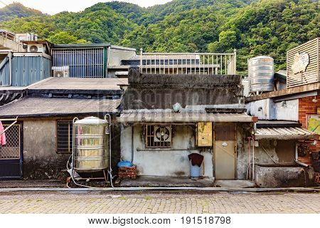 HOUTONG, TAIWAN - APRIL 30, 2017: Old shopping street near Houtong station Houtong Taiwan on April 30, 2017. Houtong is famous cat village in Taiwan.
