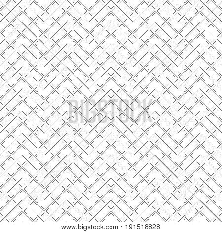 Vector seamless pattern. Simple minimal abstract geometric background. Modern linear texture with thin zigzag lines. Regularly repeating geometrical tiled grid with rhombus diamond crosses. Trendy design