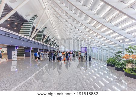 TAIPEI, TAIWAN - April 30, 2017: Taiwan Taoyuan International Airport on April 30, 2017 in Taipei. It's the busiest airport in the country and main international hub for China Airlines and EVA Air.