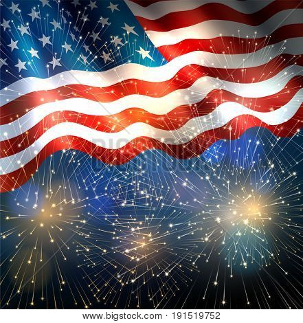 Patriotic background with american flag and fireworks background for fourth of july independence day. EPS 10 contains transparency.