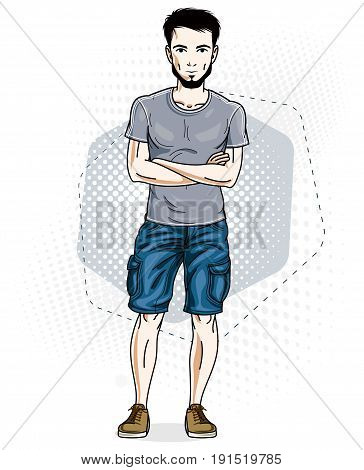 Handsome brunet young man poses on modern background. Vector illustration of male with stylish beard. Lifestyle theme clipart.