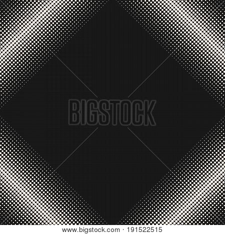 Halftone pattern. Abstract texture with gradually transition. Square form diagonal frame. Dark abstract geometric background. Halftone Dots Pattern. Design element for prints, covers, decor, web.