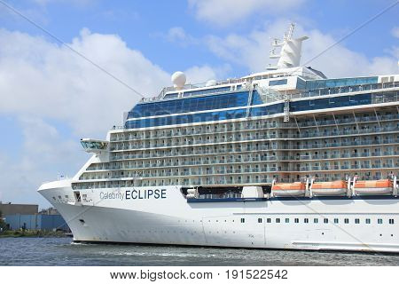 Velsen The Netherlands - June 9th 2017: Celebrity Eclipse - Celebrity Cruises on North Sea Channel towards IJmuiden sea lock and North Sea