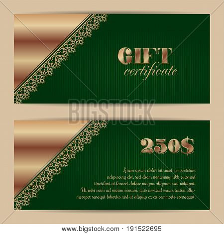 Gift certificate or voucher template with lace border. Vector illustration