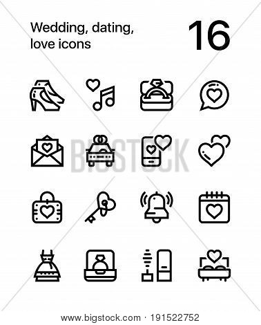 Wedding, dating, love icons for web and mobile design pack 2