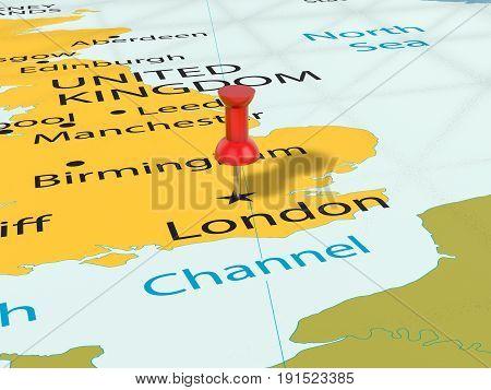 Pushpin On London Map 3D Illustration