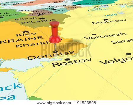 Pushpin On Donetsk Map 3D Illustration