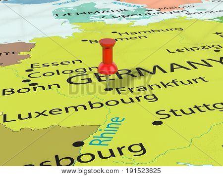 Pushpin On Frankfurt Map 3D Illustration