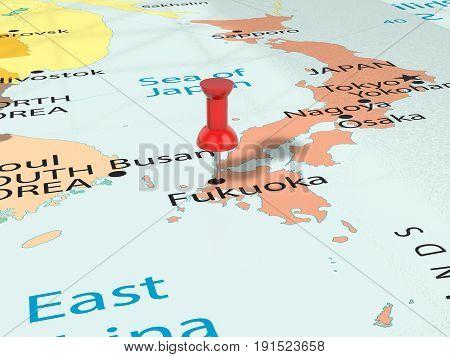 Pushpin On Fukuoka Map 3D Illustration