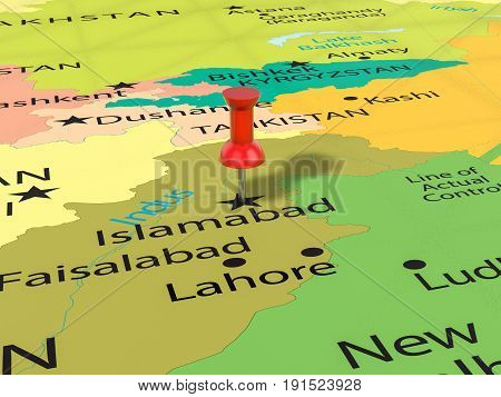 Pushpin On Islamabad Map 3D Illustration